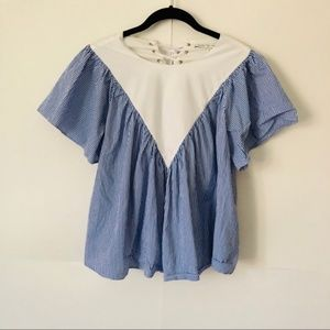 English Factory   Blue Big Sleeve Tie Back Blouse